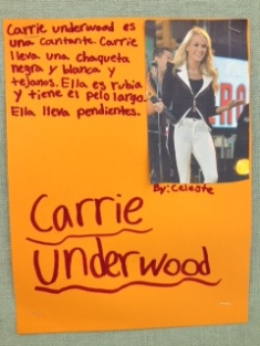 Impressive work by Sra Romeu's class at ZMS! Physical description write ups of famous people.